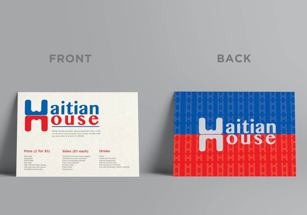 Haitian House Menu Front & Back